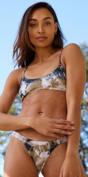 Effortless Tie Dye Bikini Bottoms – Brown
