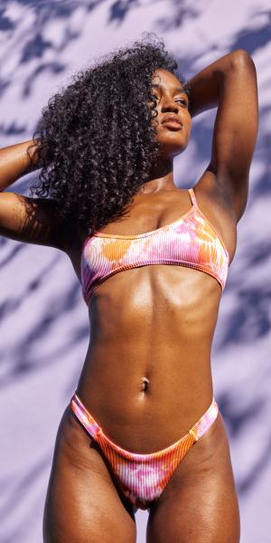 Effortless Tie Dye Bikini Top – Pink/Orange